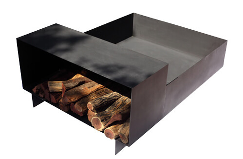 Firewood storage - caddy - with fire pit