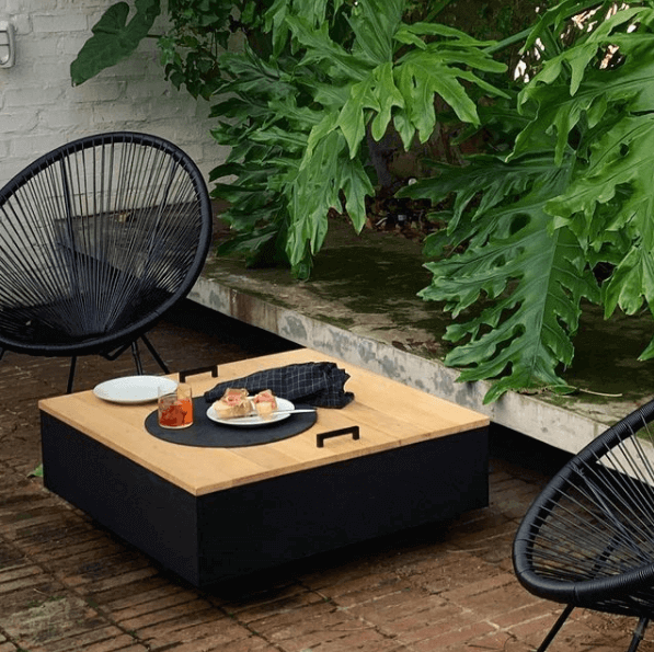 square fire pit with lid